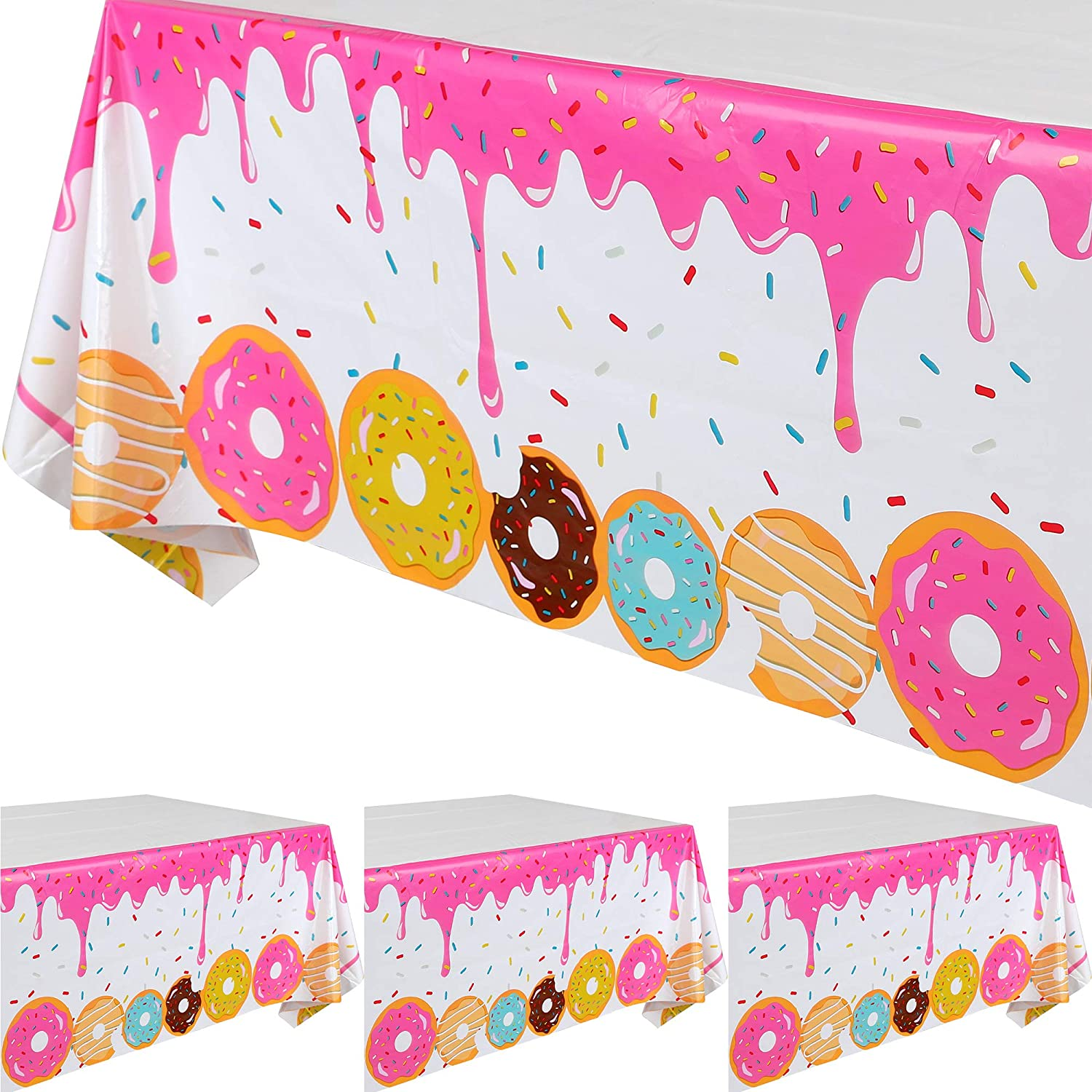 4 Ranking TOP8 Pcs Donut Time Theme D Tablecover Ranking TOP4 Plastic Party Birthday