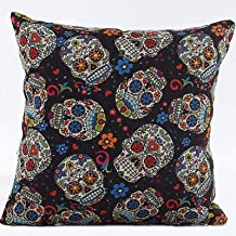 L&J.ART® High Quality 45cmx45cm 18''x18'' Black Floral Mexican Day Of The Dead Skull Pillow Case Cushion Cover