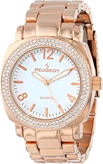 Women's 7075RG Boyfriend Oversized Watch with Swarovski Crystal Bezel Metal Link Rose Gold Watch Bracelet