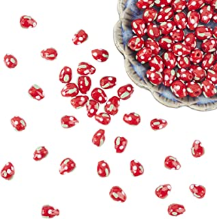 arricraft 100PCS Strawberry Bead Strands Handmade Lampwork Beads Fruit Spacer Loose Beads for Bracelets Necklace Jewelry M...