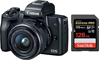 Canon EOS M50 24.1MP Mirrorless Camera (Black) with EF-M 15-45 is STM Lens + SanDisk 128GB Extreme Pro SDXC UHS-I Card - C10, U3, V30, 4K UHD, SD Card