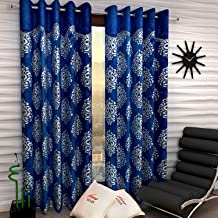 Home Sizzler 2 Piece Eyelet Polyester Window Curtains - 5 ft, Blue