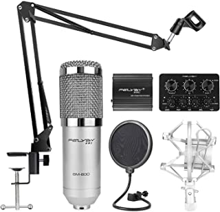 Professional Studio Broadcasting and Recording Capacitor Condenser Microphone Set(Silver)
