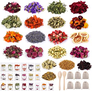 Motarto 20 Pack Dried Flowers and Herbs 10 Grams per Bag Natural Dried Flowers Kit for Crafts Bath Candle Soap Lip Gloss Making
