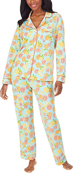 Long Sleeve Classic Notch Collar Pajama Set (Cotton Spandex)