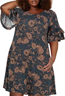 c1470269ff2 Nemidor Women's Ruffle Sleeve Jersey Knit Plus Size Casual Swing Dress with  Pocket