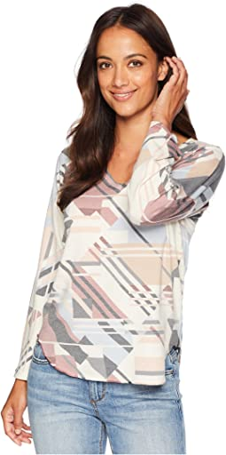 V-Neck Long Sleeve Geometric Print Top