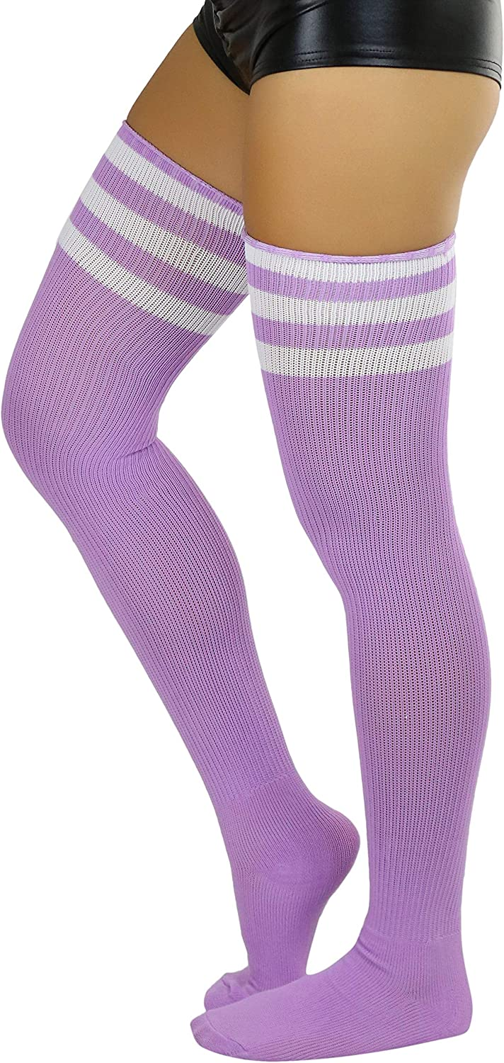 ToBeInStyle Women's Vintage Athletic Acrylic Thigh High w/Triple Striped Top
