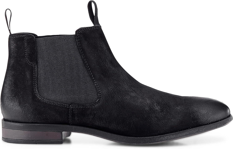Cox Herren Herren Chelsea Stiefel aus Leder, lssige Stiefel in Schwarz mit Rutschfester Sohle