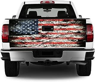 Tailgate Wrap T326 American Flag Distressed Vinyl Graphic Decal Sticker F150 F250 F350 Ram Silverado Sierra Tundra Ranger Frontier Titan Tacoma 1500 2500 3500 Bed Cover