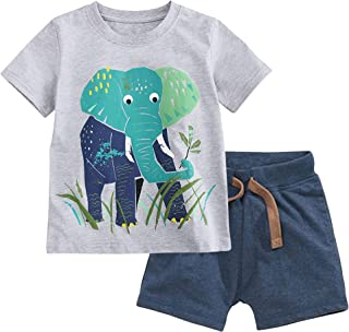 Fiream Toddler Boy's Cotton Clothing Sets T-Shirt and Shorts 2 Packs Outfits