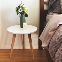 STNDRD. Mid-Century Modern End Table: Perfect Bedside Nightstand or Living Room Side/Accent Table - White Round Tabletop & 3 Bamboo Legs (1-Pack)