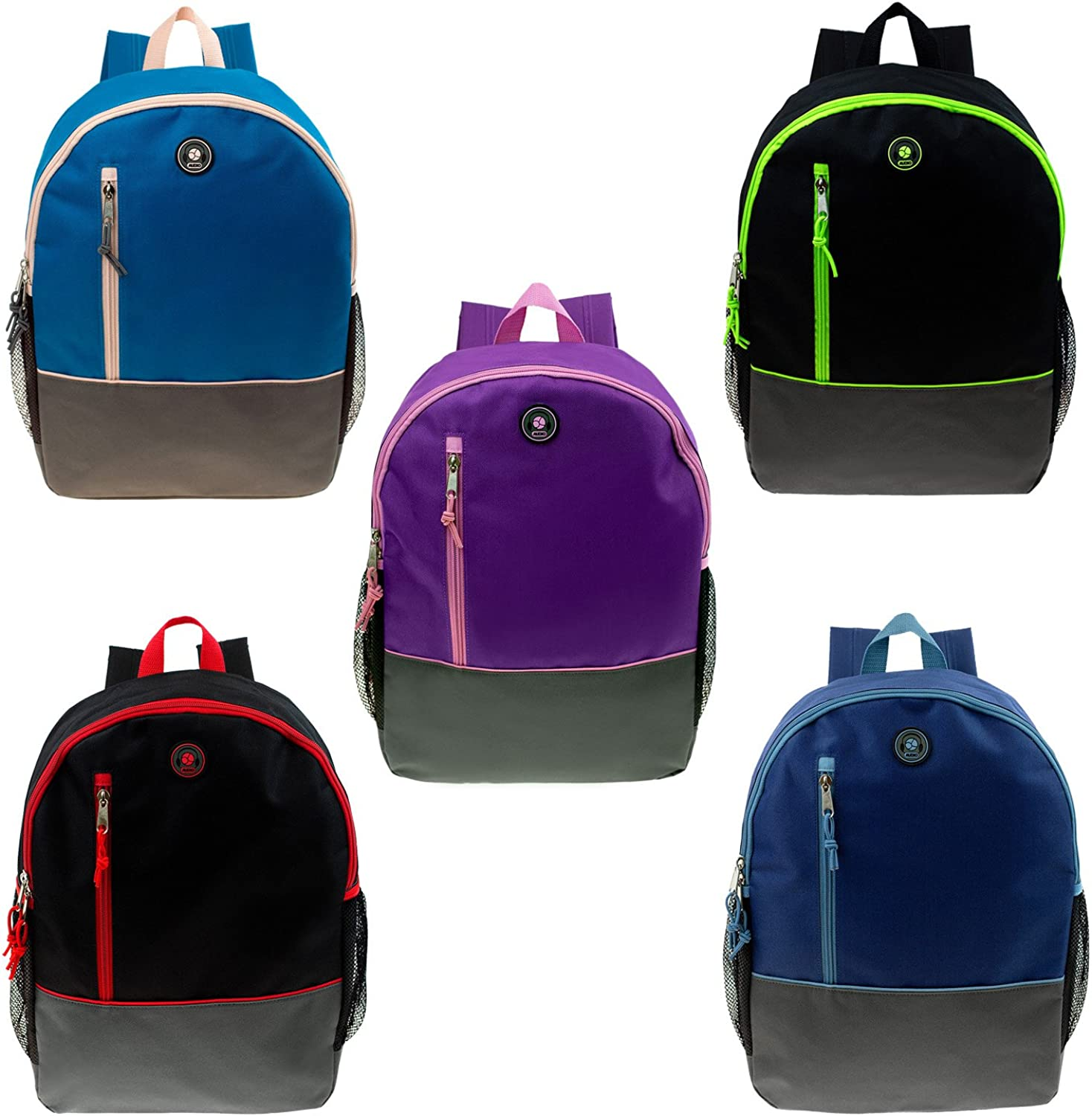 16  Wholesale Backpacks w Headphone Slot and Side Mesh Pockets in 5 Assorted colors  Bulk Case of 24 Bookbags