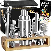 Bartender Kit Cocktail Shaker Set Bar Tools Set, 42 Piece Stainless Steel Mixology Bartending Kit for Martini Drink Mixin...