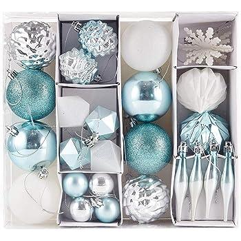 kit de 45 pi/èces pour la d/écoration du Sapin ROLDAN Lot d/écoration No/ël Artic Bleu,Blanc,Argent Boules avec accroches et cimier