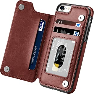 iPhone 7 Case, iPhone 8 Case, Hoofur Slim Fit Premium Leather iPhone 7 Wallet Casae Card Slots Shockproof Folio Flip Protective Shell for Apple iPhone 7/8 (4.7 Inch) (Brown)