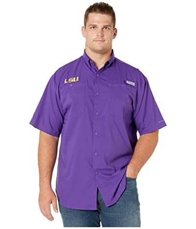 Columbia College Big Tall LSU Tigers Collegiate Tamiamitm II Short Sleeve Shirt (Vivid Purple) Men