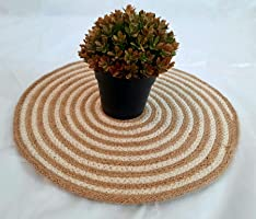 PartyStuff Jute Cotton Hand Braided Rustic Vintage Placemat for Dining Table, Bedside Table, Tea Coaster, Plate mat,...