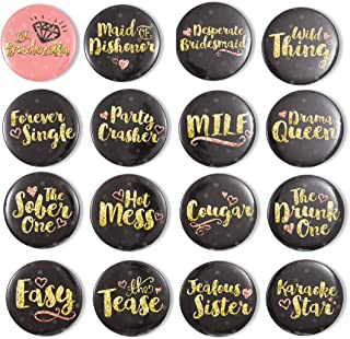 Bachelorette Party Buttons, Bridal Shower Pins in 16 Designs (2.25 in, 16-Pk)