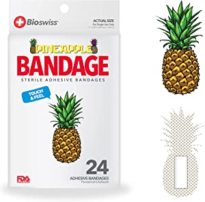 BioSwiss Novelty Bandages Self-Adhesive Funny First Aid, Novelty Gag Gift (24pc) (Pineapple)