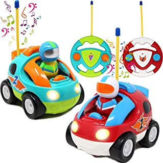 2 Pack Cartoon RC Race Car Radio Remote Control with Music & Sound Toy for Baby, Toddler, Children Cars, School Classroom ...