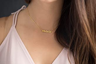 Old English name Gothic Style Name Necklace 18k Gold filled, Old English Choker