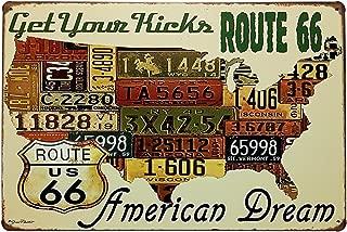 ERLOOD Route 66 Decor Us Road License - Metal Bar Wall Plaque Retro Vintage Tin Sign 12 x 8