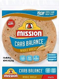 Mission Carb Balance Fajita Whole Wheat Tortillas, Low Carb, Keto, Whole Grains, High Fiber, No Sugar, Small Size, 8 Count