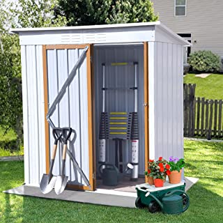 5 x 3 FT Outdoor Storage Shed, Galvanized Metal Garden Shed with Lockable Doors, Tool Storage Shed for Patio Lawn Backyard...