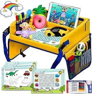 Flyfun Kinder Reisetisch Kindersitz Spiel, Tragbar Tablett, Knietablett Reisetisch mit 5 Zeichenpapier  6 Farbstifte, Spieltisch Autositz Tisch für Buggys, Kinderwagen, Auto, Flugzeug, Bahn