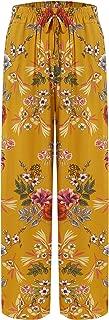 Women's Summer Wide Leg Elastic High Waist Printed Boho Hippie Palazzo Pants Plus Size