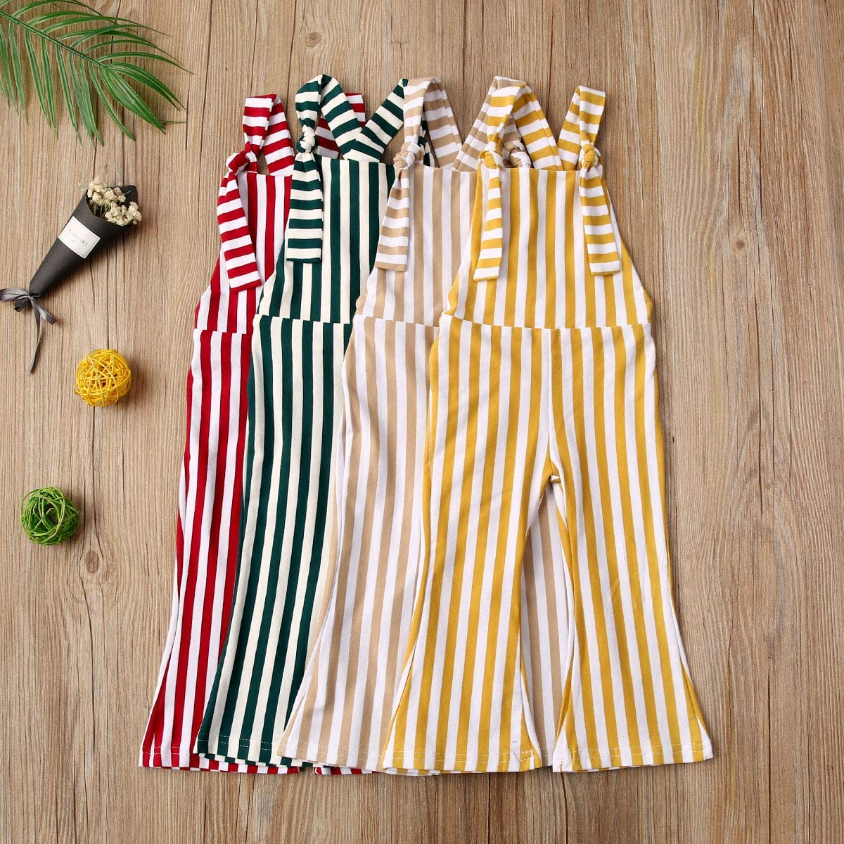 ZAXARRA Toddler Kids Baby Girl Stripes Bell-Bottom Jumpsuit Romper Overalls Pants Outfits