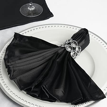 Black Gowinex Pack of 10 18 x 18 inches Lamour Satin Dinner Napkins for Wedding Party Event Decor