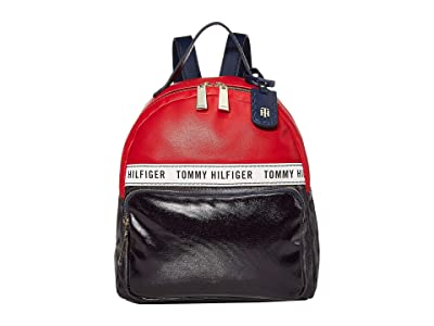 Tommy Hilfiger Julia Dome Backpack (Navy/Red/White) Backpack Bags