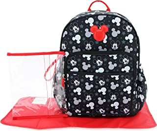 Cudlie Disney Mickey Mouse Baby Boys Multipiece Diaper Bag Backpack with Adjustable Straps In Heads & Stars (Includes Chan...