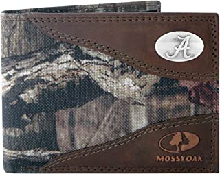 NCAA Alabama Crimson Tide Zep-Pro Mossy Oak Nylon and Leather Passcase Concho Wallet, Camouflage, One Size