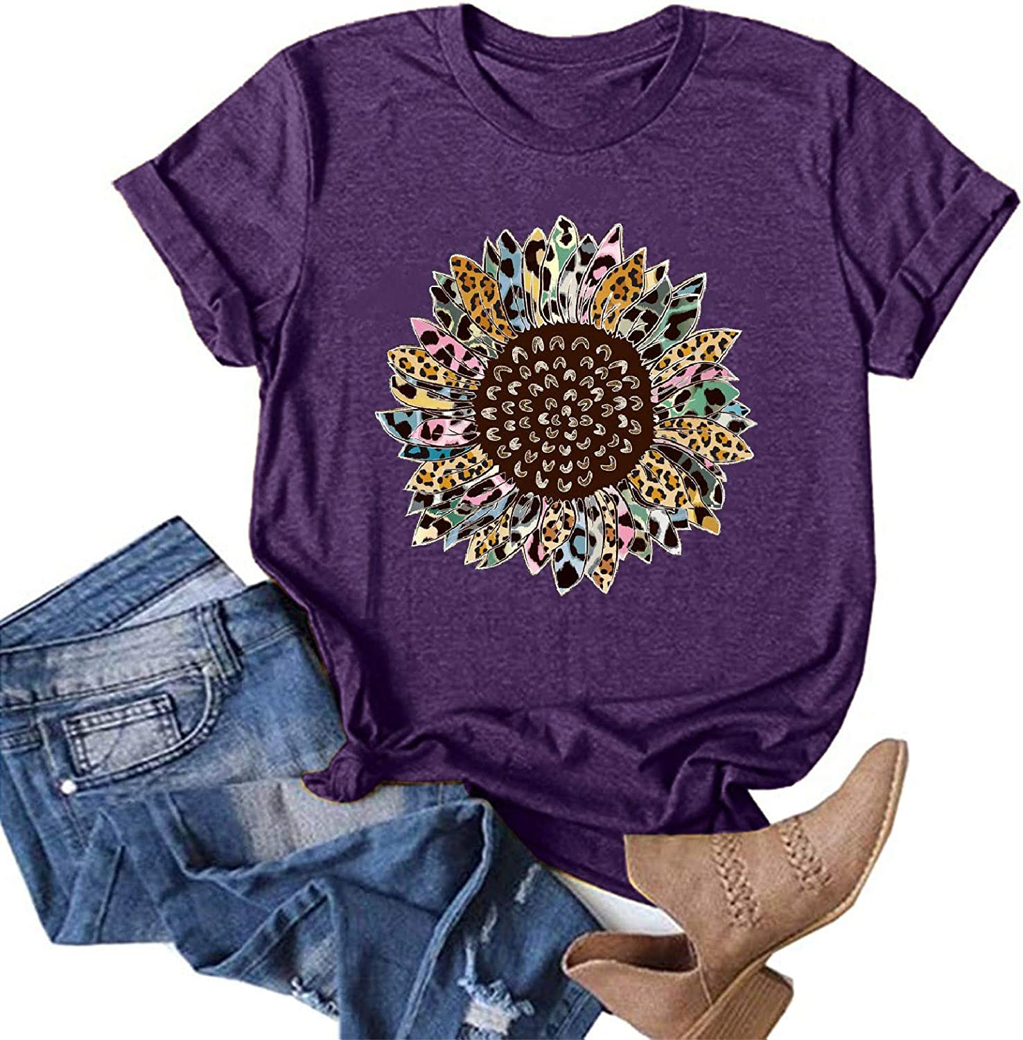 Aukbays Womens Plus Size Tops Shirts Summer Sunflower Printed Graphic Tees Short Sleeve T-Shirts Casual Blouse Tunic