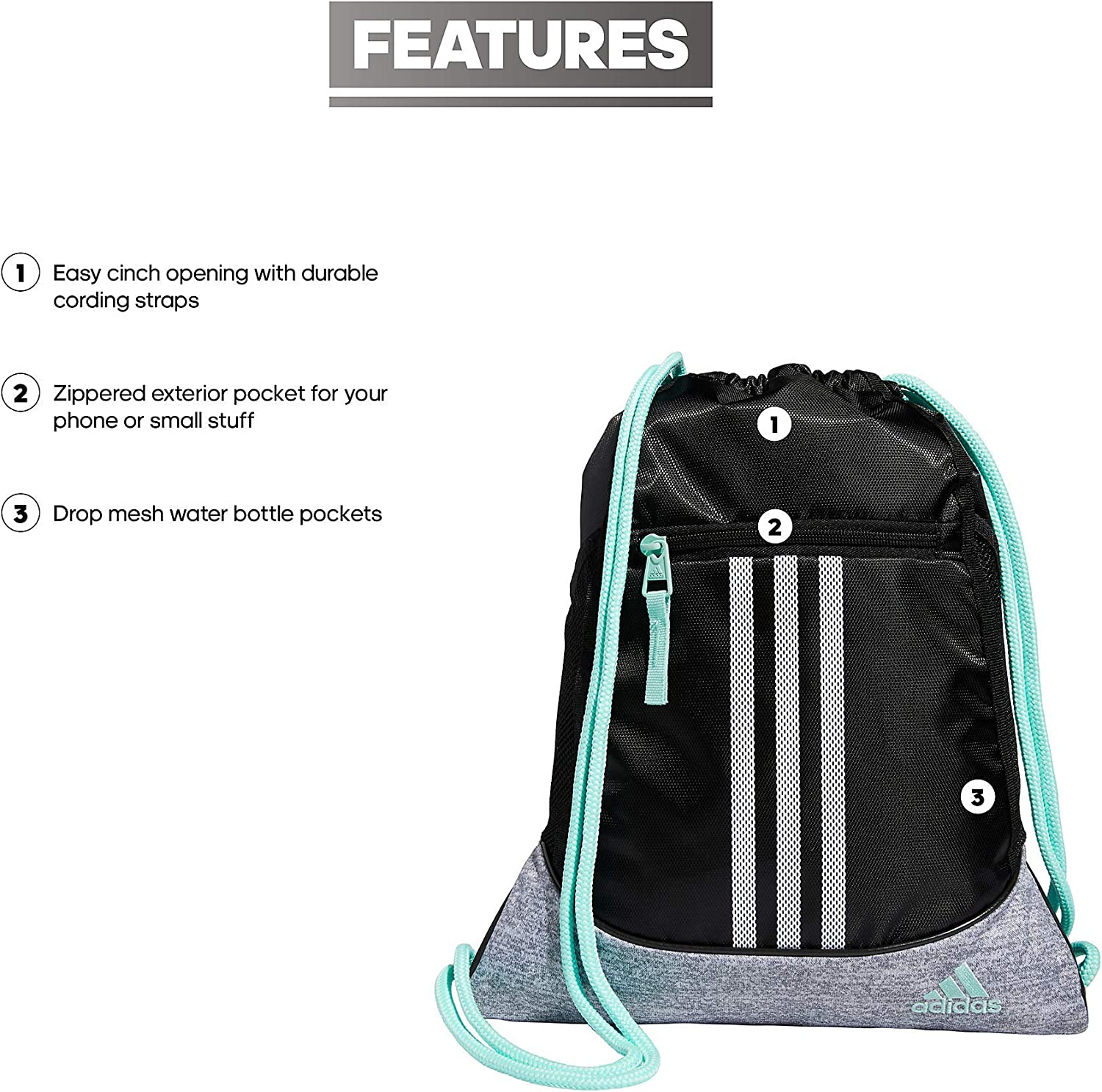 adidas Alliance 2 Sackpack, Black/Clear Mint/Grey Jersey/White, One Size
