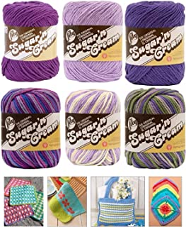 Variety Assortment Lily Sugar'n Cream Yarn 100 Percent Cotton Solids and Ombres (6-Pack) Medium Number 4 Worsted Bundle wi...