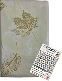 Fall Leaves Vinyl Tablecloth Flannel Backed Autumn Tonal Colored with Gold Flake Falling Leaves Indoor Outdoor with Custom...