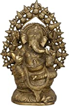 Lord Ganesha with Aureole Mad of Kalashes - Brass Statue