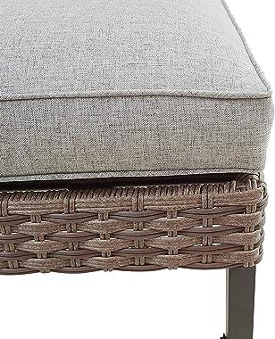 LOKATSE HOME Patio Ottoman Outdoor Wicker Foot Rest Seat with Cushion Rattan Furniture for Garden Backyard Lawn Deck, Grey