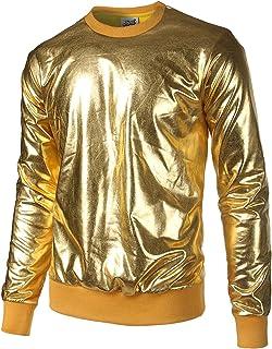 JOGAL Metallic Gold Shiny Shirts Nightclub Styles Hoodies