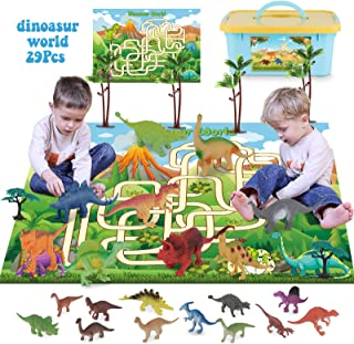 SevenQ Dinosaur Toys, Realistic Educational Dinosaur Figures Playset with Activity Play Mat & Trees for Creating a Dino Wo...
