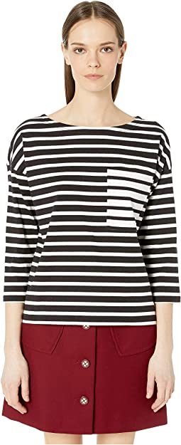 Stripe Contrast Pocket Tee