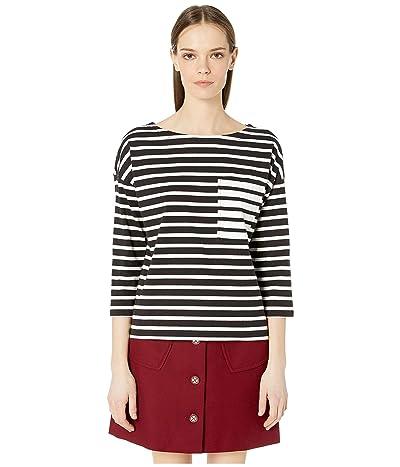 Kate Spade New York Stripe Contrast Pocket Tee (Black/Cream) Women