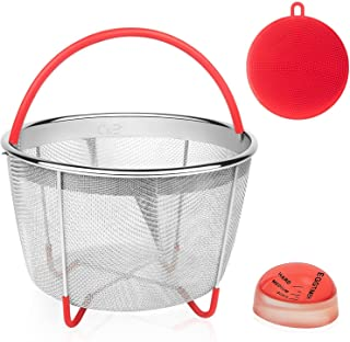 Steamer Basket for 6Qt & 8Qt Instant Pot   Stainless Steel Strainer Insert with Handles for Pressure Cooker   Perfect for Pasta, Vegetables, Rice or Meats   B0NUS Silicone Sponge + Egg Timer