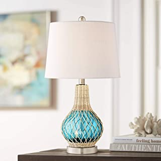 Alana Coastal Accent Table Lamp with Nightlight LED Rope Blue Glass Gourd White Fabric Drum Shade for Living Room Bedroom Bedside Nightstand Office Family - 360 Lighting