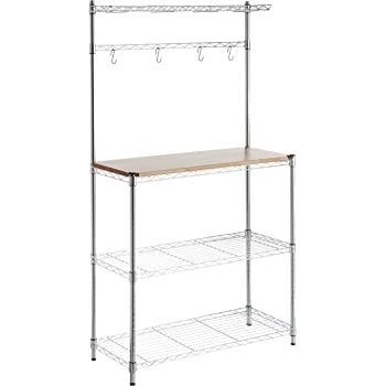 "AmazonBasics Kitchen Storage Baker's Rack with Wood Table, Chrome/Wood - 63.4"" Height"