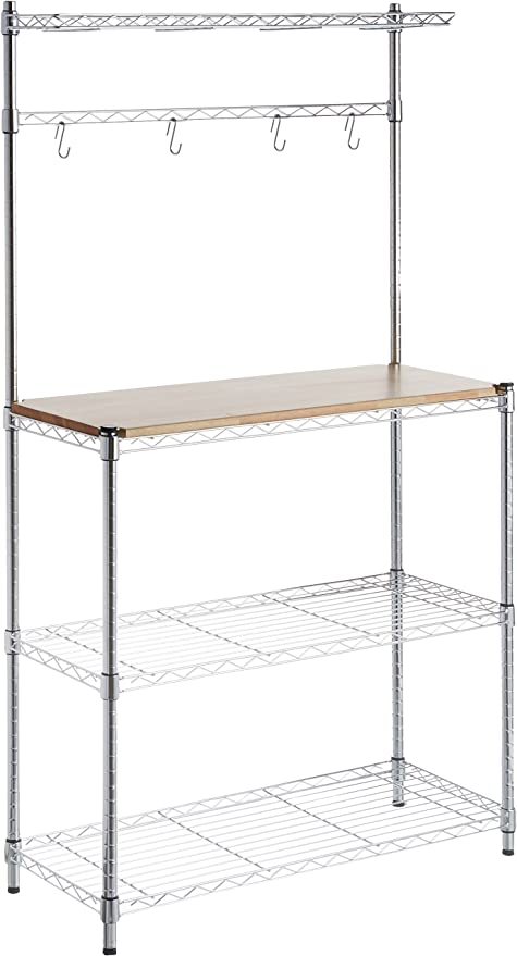 Amazon Com Amazon Basics Kitchen Storage Baker S Rack With Wood Table Chrome Wood 63 4 Height Home Kitchen